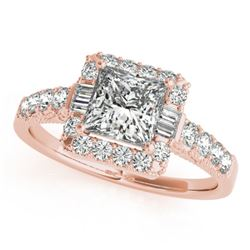 1.65 CTW Certified VS/SI Princess Diamond Solitaire Halo Ring 18K Rose Gold - REF-253T8M - 27193