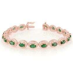 10.0 CTW Emerald Bracelet 14K Rose Gold - REF-150W4F - 11538