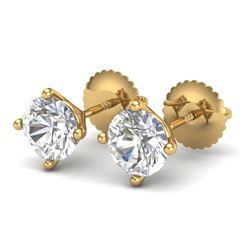 1.5 CTW VS/SI Diamond Solitaire Art Deco Stud Earrings 18K Yellow Gold - REF-309Y3K - 37303