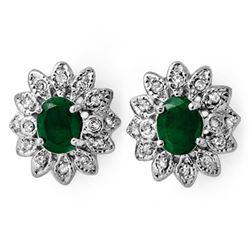 3.10 CTW Emerald & Diamond Earrings 14K White Gold - REF-80F5N - 13789