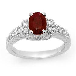 2.13 CTW Ruby & Diamond Ring 14K White Gold - REF-62M4H - 13901