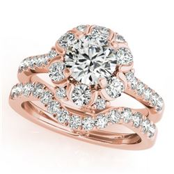 2.22 CTW Certified VS/SI Diamond 2Pc Wedding Set Solitaire Halo 14K Rose Gold - REF-268H2A - 31068
