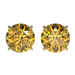 2.04 CTW Certified Intense Yellow SI Diamond Solitaire Stud Earrings 10K Yellow Gold - REF-297K2W -
