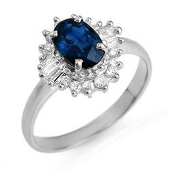 1.72 CTW Blue Sapphire & Diamond Ring 18K White Gold - REF-52H2A - 12501