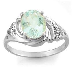 2.04 CTW Aquamarine & Diamond Ring 18K White Gold - REF-46F8N - 11553