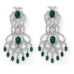17.30 CTW Emerald & Diamond Earrings 14K White Gold - REF-434T8M - 11843
