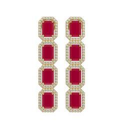 12.33 CTW Ruby & Diamond Halo Earrings 10K Yellow Gold - REF-168N2Y - 41431