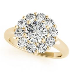 2.09 CTW Certified VS/SI Diamond Solitaire Halo Ring 18K Yellow Gold - REF-436A8X - 27017