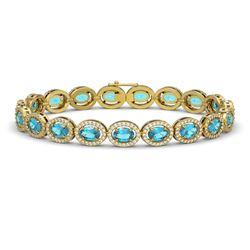 14.82 CTW Swiss Topaz & Diamond Halo Bracelet 10K Yellow Gold - REF-230W4F - 40486