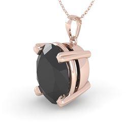 5.0 CTW Oval Black Diamond Designer Necklace 18K Rose Gold - REF-159M3H - 32369