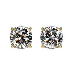 1 CTW Certified VS/SI Quality Cushion Cut Diamond Stud Earrings 10K Yellow Gold - REF-147H2A - 33068