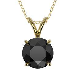 1.25 CTW Fancy Black VS Diamond Solitaire Necklace 10K Yellow Gold - REF-29Y5K - 33206