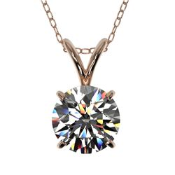 1.04 CTW Certified H-SI/I Quality Diamond Solitaire Necklace 10K Rose Gold - REF-147F2N - 36751