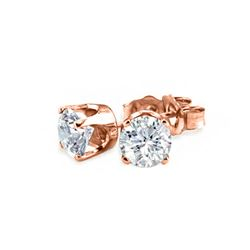 0.90 CTW Certified VS/SI Diamond Solitaire Stud Earrings 18K Rose Gold - REF-131F6N - 13040