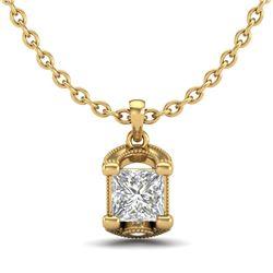 1.25 CTW Princess VS/SI Diamond Solitaire Art Deco Necklace 18K Yellow Gold - REF-315H2A - 37156