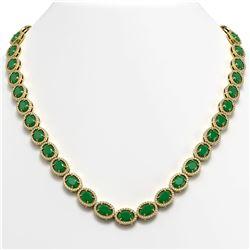 52.15 CTW Emerald & Diamond Halo Necklace 10K Yellow Gold - REF-655X3T - 40555