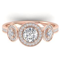 1.25 CTW Certified VS/SI Diamond Art Deco 3 Stone Micro Halo Ring 14K Rose Gold - REF-134T5M - 30361