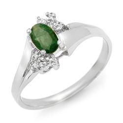 0.62 CTW Emerald & Diamond Ring 10K White Gold - REF-14T9M - 13630