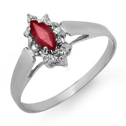 0.33 CTW Ruby Ring 18K White Gold - REF-19K3W - 12872