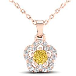 0.33 CTW Citrine & Micro VS/SI Diamond Necklace Moon 10K Rose Gold - REF-17F3N - 21343