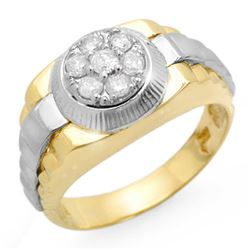 0.50 CTW Certified VS/SI Diamond Men's Ring 18K 2-Tone Gold - REF-118T2M - 14426