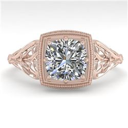 1.0 CTW Certified VS/SI Cushion Diamond Engagement Ring Deco 18K Rose Gold - REF-344Y4K - 36044