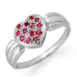 0.40 CTW Pink Sapphire Ring 18K White Gold - REF-38W2F - 13646