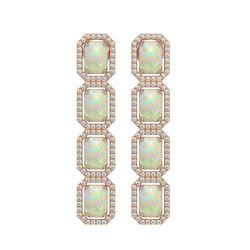 7.93 CTW Opal & Diamond Halo Earrings 10K Rose Gold - REF-162A2X - 41442