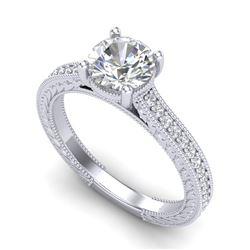 1.45 CTW VS/SI Diamond Art Deco Ring 18K White Gold - REF-400K2W - 37004