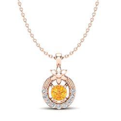 0.20 CTW Citrine & Micro Pave VS/SI Diamond Halo Necklace 14K Rose Gold - REF-22N8Y - 20360