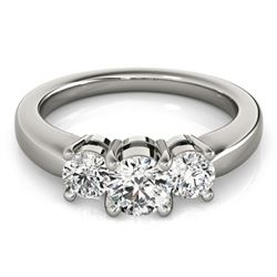 0.5 CTW Certified VS/SI Diamond 3 Stone Ring 18K White Gold - REF-75T5M - 28059
