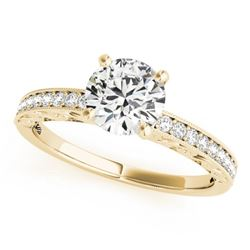0.7 CTW Certified VS/SI Diamond Solitaire Antique Ring 18K Yellow Gold - REF-115T3M - 27245