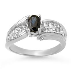 1.40 CTW Blue Sapphire & Diamond Ring 18K White Gold - REF-70T9M - 13318