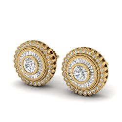 2.61 CTW VS/SI Diamond Solitaire Art Deco Stud Earrings 18K Yellow Gold - REF-381K8W - 37084