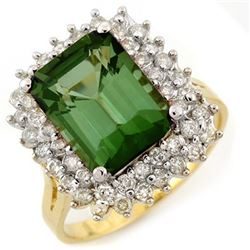 4.75 CTW Green Tourmaline & Diamond Ring 14K Yellow Gold - REF-112X5T - 11697