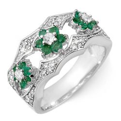 0.85 CTW Emerald & Diamond Ring 14K White Gold - REF-69X8T - 11455