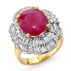 5.59 CTW Ruby & Diamond Ring 14K Yellow Gold - REF-159X6T - 13145