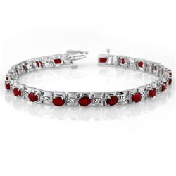 6.09 CTW Ruby & Diamond Bracelet 14K White Gold - REF-109M3H - 10591