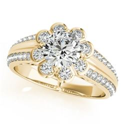 0.85 CTW Certified VS/SI Diamond Solitaire Halo Ring 18K Yellow Gold - REF-121A8X - 27032