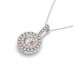 0.85 CTW Certified VS/SI Diamond Solitaire Halo Necklace 14K White & Rose Gold - REF-112A9X - 29937