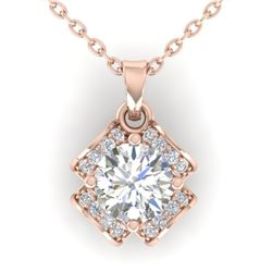 0.95 CTW Certified VS/SI Diamond Art Deco Stud Necklace 14K Rose Gold - REF-114X5T - 30280