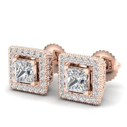 2.25 CTW Princess VS/SI Diamond Micro Pave Stud Earrings 18K Rose Gold - REF-272Y8K - 37170