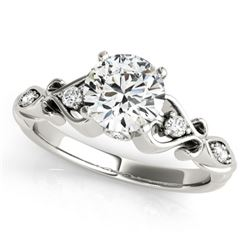 1.15 CTW Certified VS/SI Diamond Solitaire Antique Ring 18K White Gold - REF-369T8M - 27423