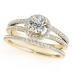 1.1 CTW Certified VS/SI Diamond 2Pc Wedding Set Solitaire Halo 14K Yellow Gold - REF-199F6N - 31078