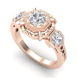 1.01 CTW VS/SI Diamond Solitaire Art Deco 3 Stone Ring 18K Rose Gold - REF-200Y2K - 36882