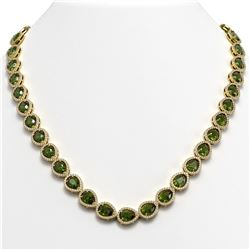 35.13 CTW Tourmaline & Diamond Halo Necklace 10K Yellow Gold - REF-775T5M - 41065