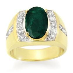 4.58 CTW Emerald & Diamond Men's Ring 10K Yellow Gold - REF-73X8T - 14486