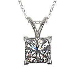 1 CTW Certified VS/SI Quality Princess Diamond Solitaire Necklace 10K White Gold - REF-265Y3K - 3319