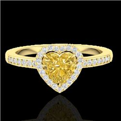 1 CTW Citrine & Micro Pave Ring Heart Halo 14K Yellow Gold - REF-34Y9K - 21404