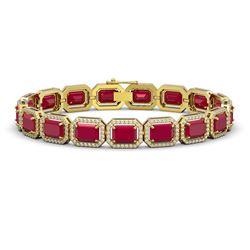 26.21 CTW Ruby & Diamond Halo Bracelet 10K Yellow Gold - REF-347K8W - 41383